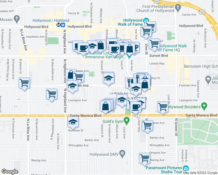 map of restaurants, bars, coffee shops, grocery stores, and more near 6525 La Mirada Avenue in Los Angeles