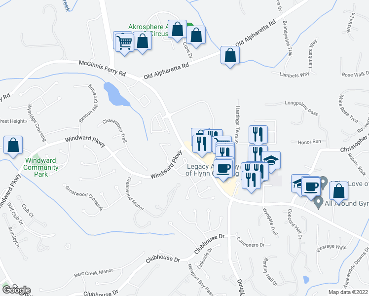 map of restaurants, bars, coffee shops, grocery stores, and more near McGinnis Ferry Rd & Windward Pkwy in Alpharetta