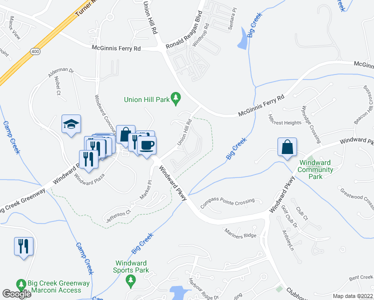map of restaurants, bars, coffee shops, grocery stores, and more near 18000 Masters Way in Alpharetta