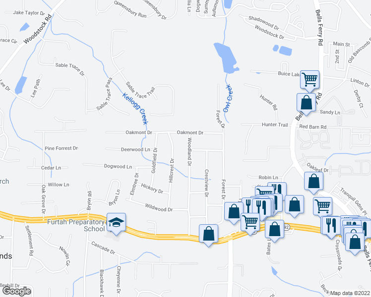 map of restaurants, bars, coffee shops, grocery stores, and more near 5759 Woodland Drive in Acworth