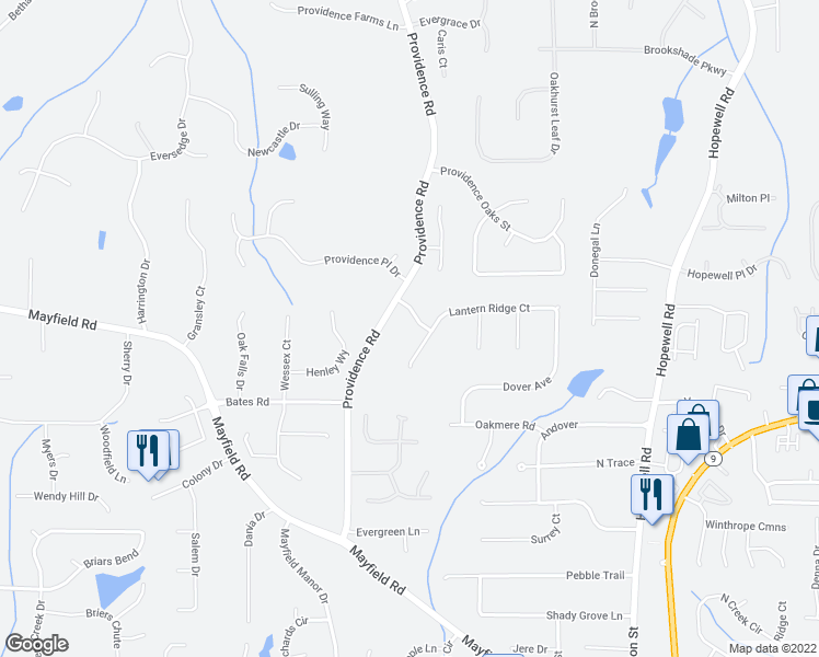 map of restaurants, bars, coffee shops, grocery stores, and more near 125 Lantern Ridge Drive in Alpharetta
