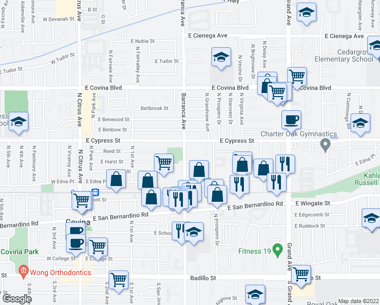 map of restaurants, bars, coffee shops, grocery stores, and more near 826 North Barranca Avenue in Covina