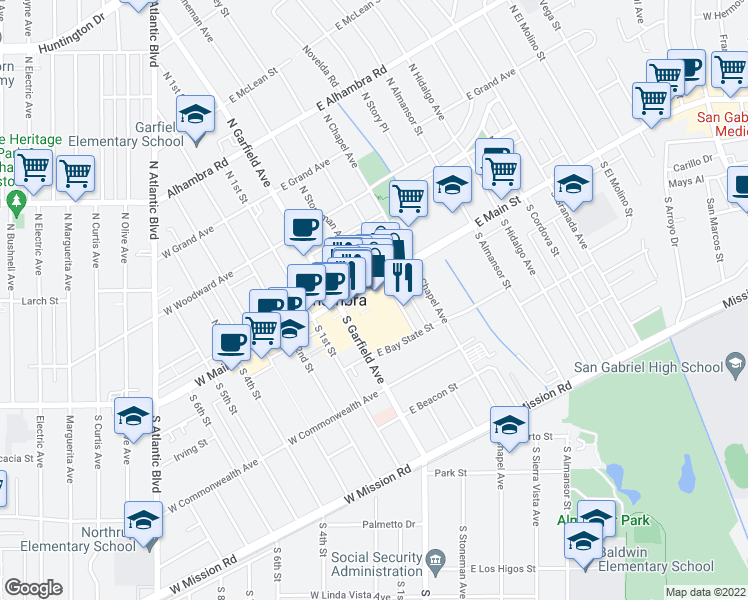 map of restaurants, bars, coffee shops, grocery stores, and more near 88 South Garfield Avenue in Alhambra