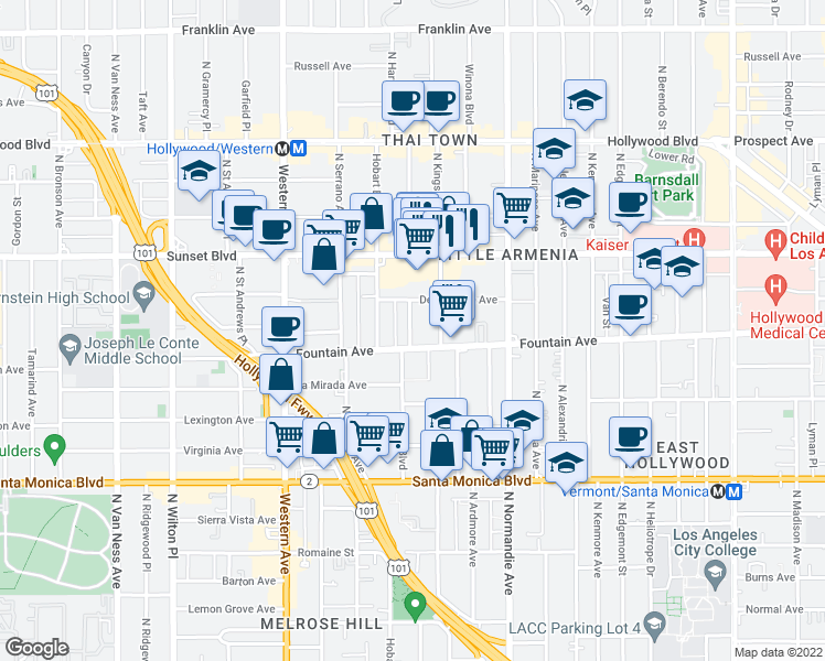 map of restaurants, bars, coffee shops, grocery stores, and more near 1316 North Harvard Boulevard in Los Angeles
