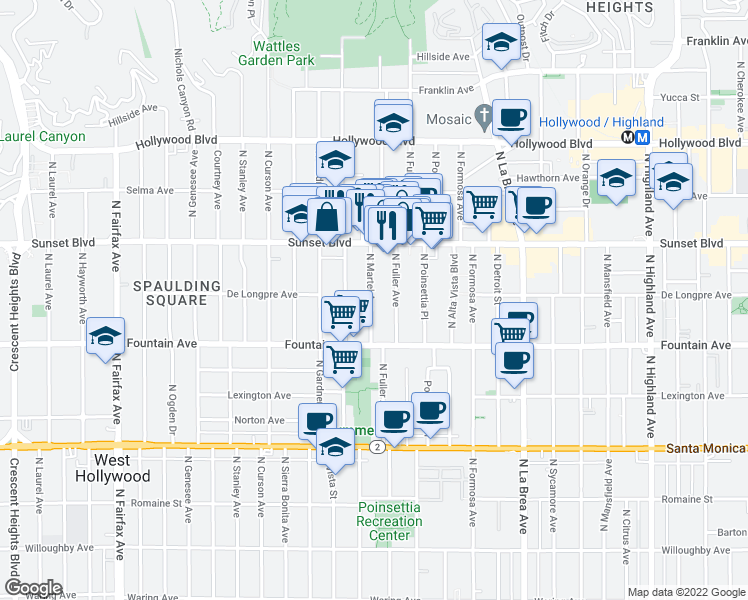 map of restaurants, bars, coffee shops, grocery stores, and more near 1400 North Martel Avenue in Los Angeles