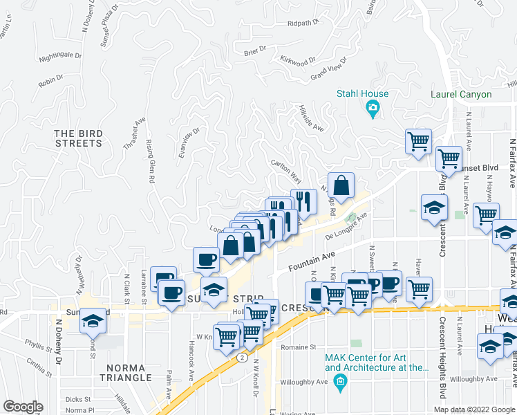 map of restaurants, bars, coffee shops, grocery stores, and more near Miller Drive in West Hollywood
