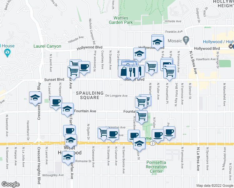 map of restaurants, bars, coffee shops, grocery stores, and more near 1401 N Curson Ave in Los Angeles