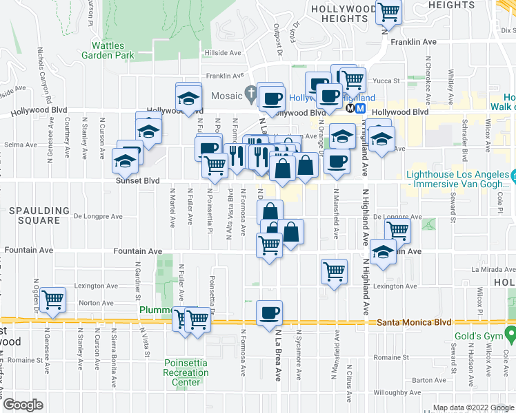 map of restaurants, bars, coffee shops, grocery stores, and more near 1425 North Detroit Street in Los Angeles