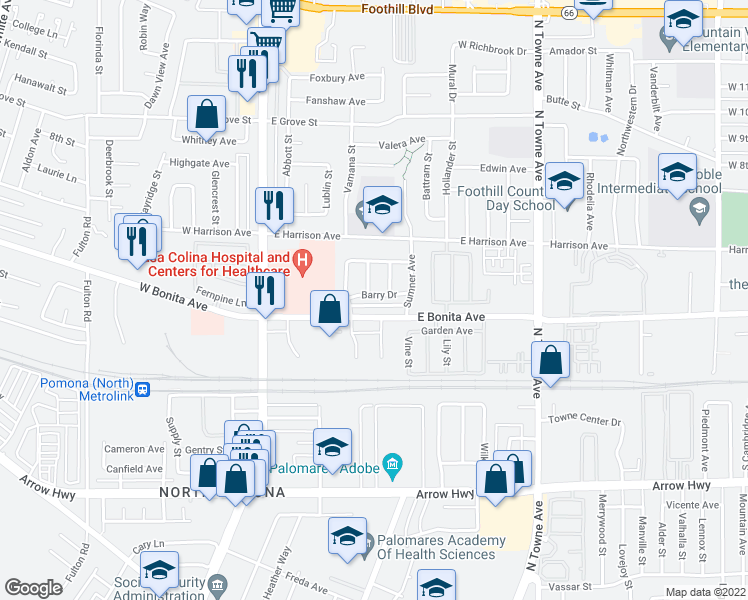 map of restaurants, bars, coffee shops, grocery stores, and more near 384 Barry Drive in Pomona