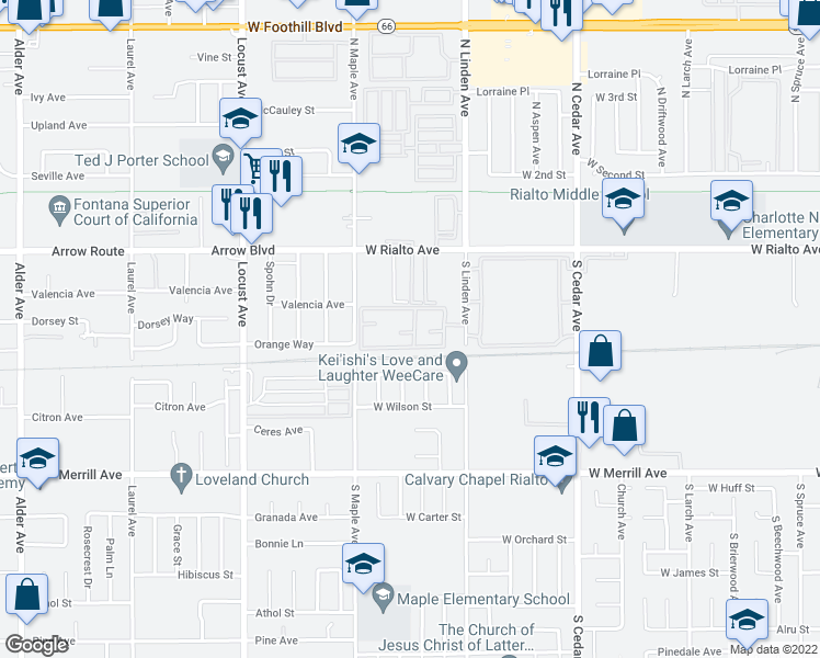 map of restaurants, bars, coffee shops, grocery stores, and more near 200 South Linden Avenue in Rialto