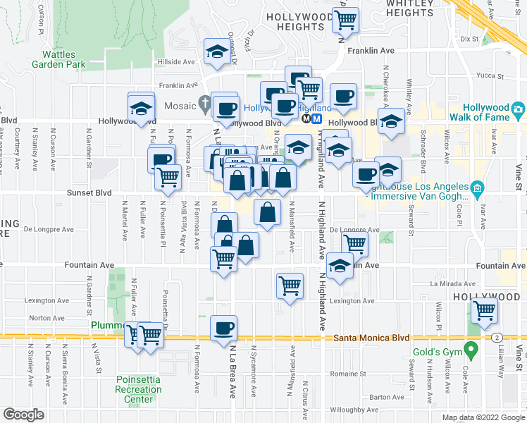 map of restaurants, bars, coffee shops, grocery stores, and more near 1411 North Sycamore Avenue in Los Angeles
