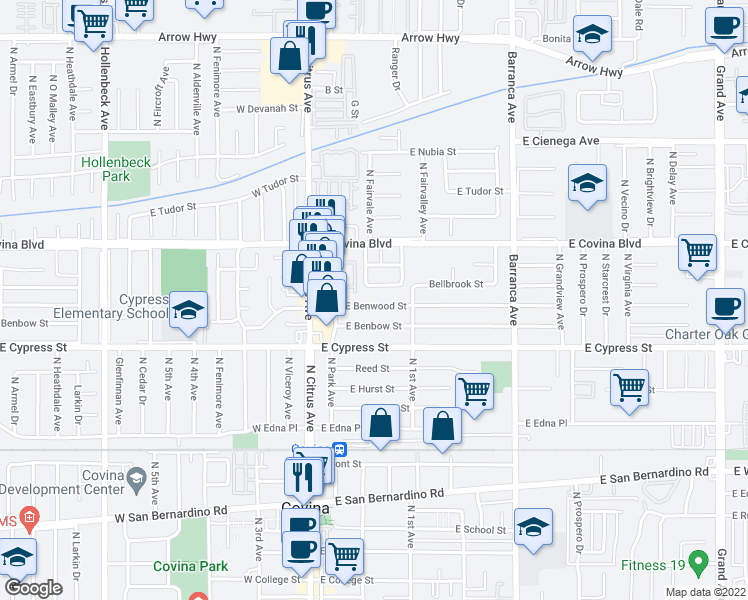 map of restaurants, bars, coffee shops, grocery stores, and more near 223 East Benwood Street in Covina