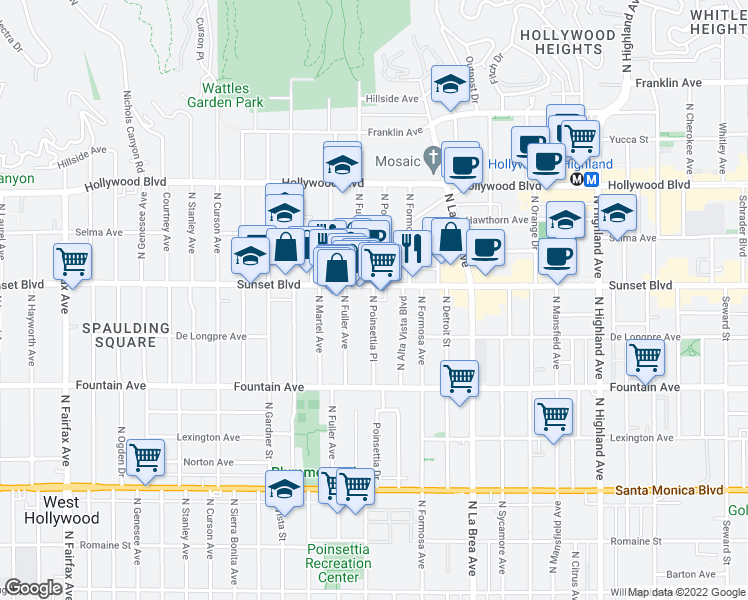 map of restaurants, bars, coffee shops, grocery stores, and more near 7256 Sunset Boulevard in Los Angeles