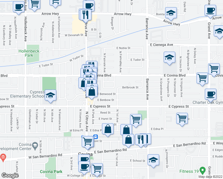 map of restaurants, bars, coffee shops, grocery stores, and more near 250 E Bellbrook St in Covina