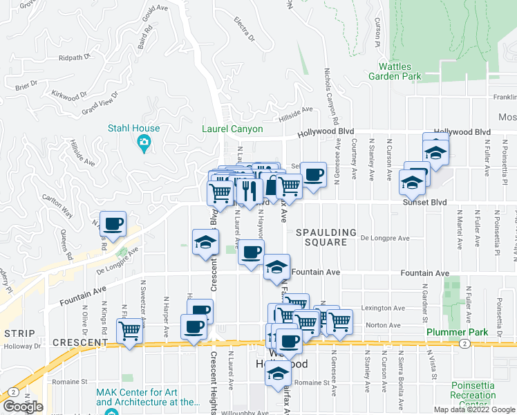 map of restaurants, bars, coffee shops, grocery stores, and more near 7950 Sunset Boulevard in Los Angeles