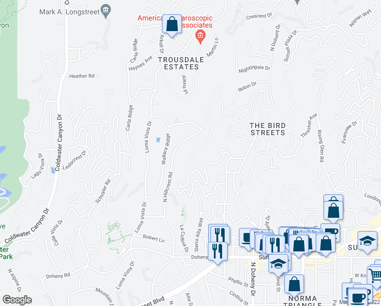 map of restaurants, bars, coffee shops, grocery stores, and more near 1174 North Hillcrest Road in Beverly Hills