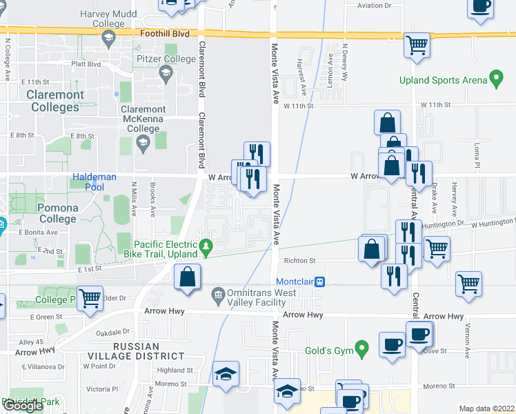 map of restaurants, bars, coffee shops, grocery stores, and more near College Park Drive in Upland