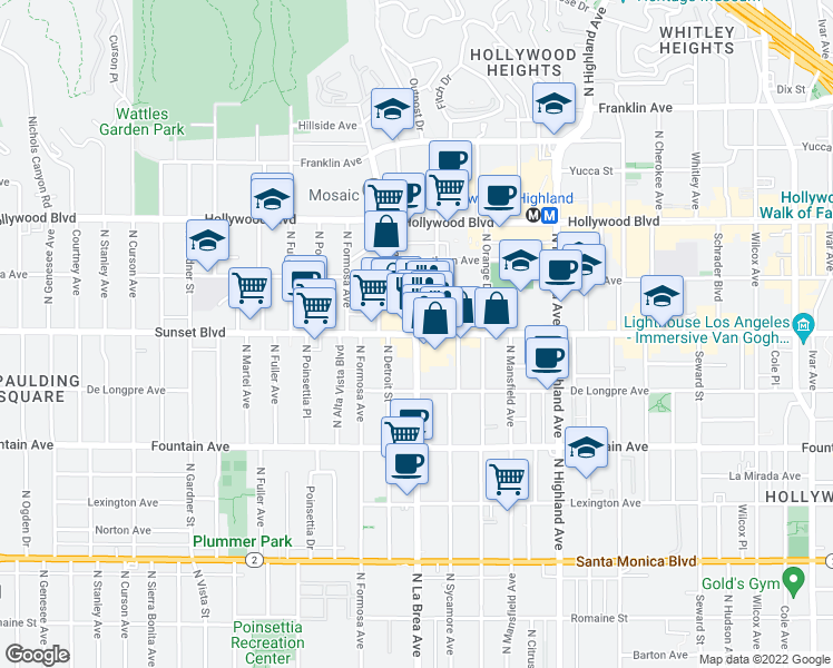 map of restaurants, bars, coffee shops, grocery stores, and more near Sunset Boulevard & North La Brea Avenue in Los Angeles