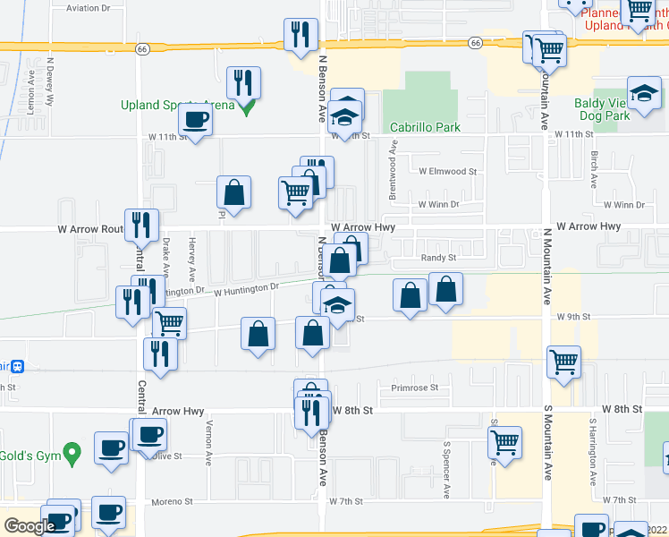map of restaurants, bars, coffee shops, grocery stores, and more near 1582 Corte Santana in Upland