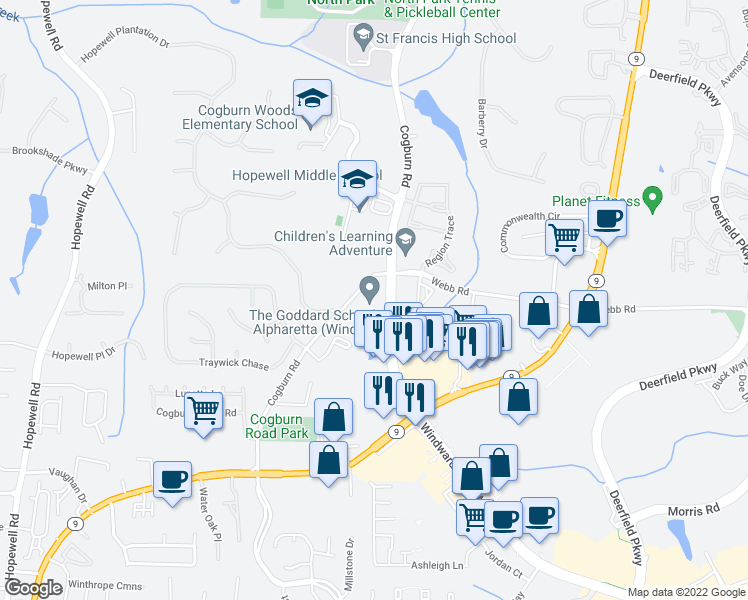 map of restaurants, bars, coffee shops, grocery stores, and more near 4875 Windward Parkway in Alpharetta