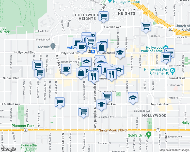 map of restaurants, bars, coffee shops, grocery stores, and more near 6800 Sunset Boulevard in Los Angeles