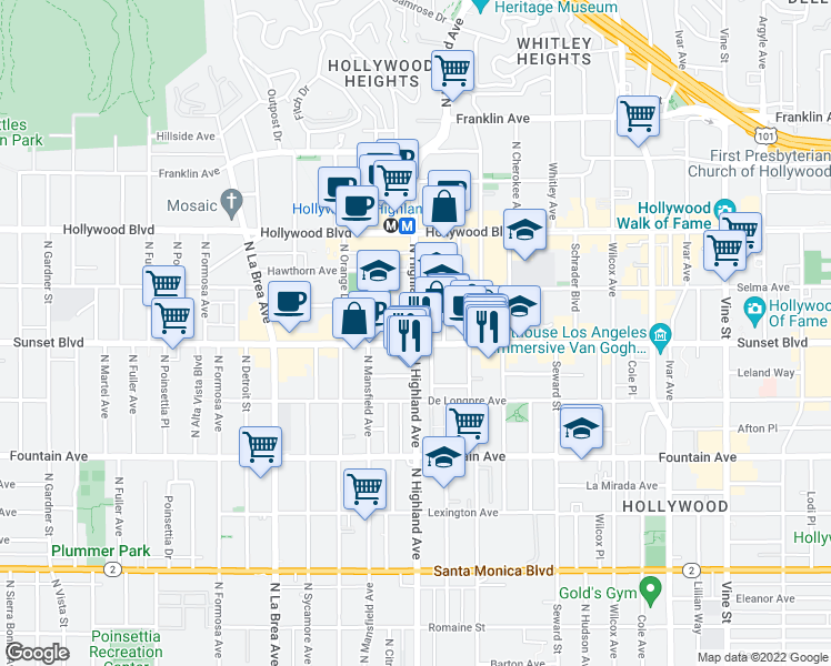 map of restaurants, bars, coffee shops, grocery stores, and more near 6755 Sunset Boulevard in Los Angeles