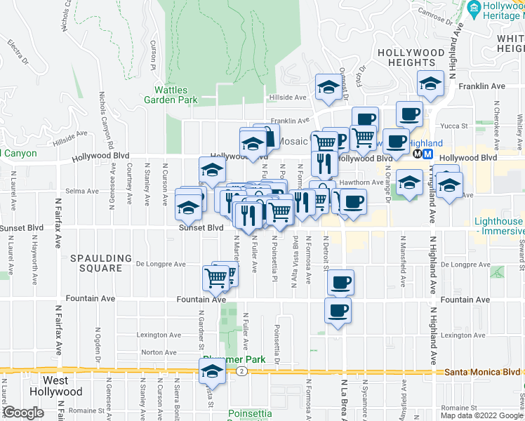 map of restaurants, bars, coffee shops, grocery stores, and more near 1531 North Fuller Avenue in Los Angeles