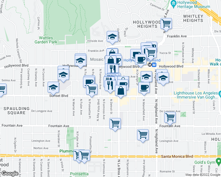 map of restaurants, bars, coffee shops, grocery stores, and more near 1530 North Detroit Street in Los Angeles