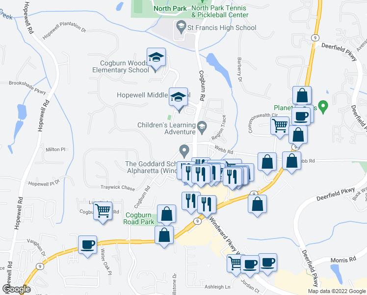 map of restaurants, bars, coffee shops, grocery stores, and more near 13100-13172 Cogburn Road in Milton