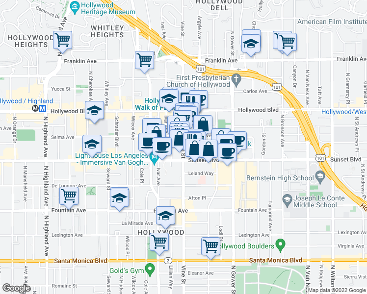 map of restaurants, bars, coffee shops, grocery stores, and more near 1550 Vine Street in Los Angeles
