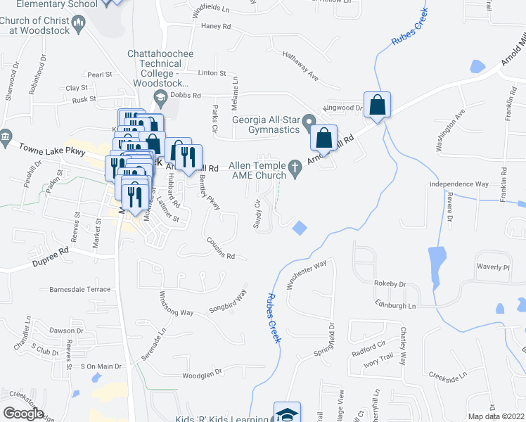 map of restaurants, bars, coffee shops, grocery stores, and more near 50 Sandy Circle in Woodstock