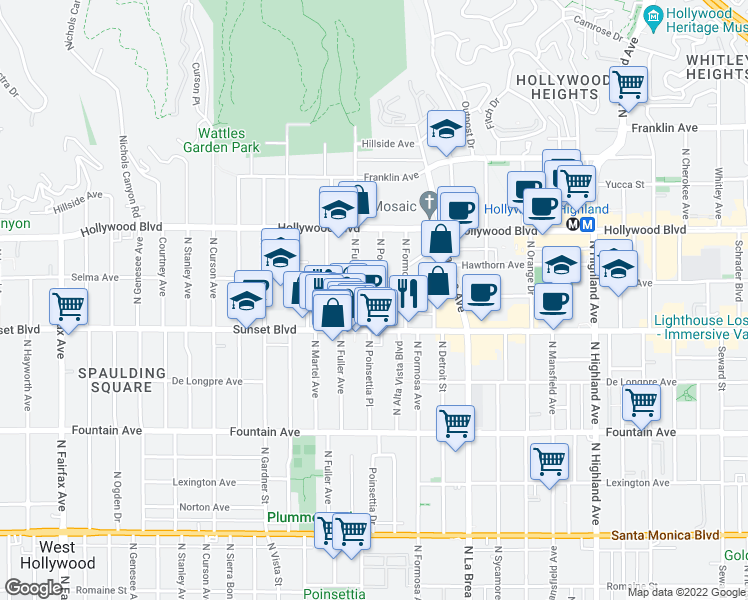 map of restaurants, bars, coffee shops, grocery stores, and more near 1556 North Fuller Avenue in Los Angeles