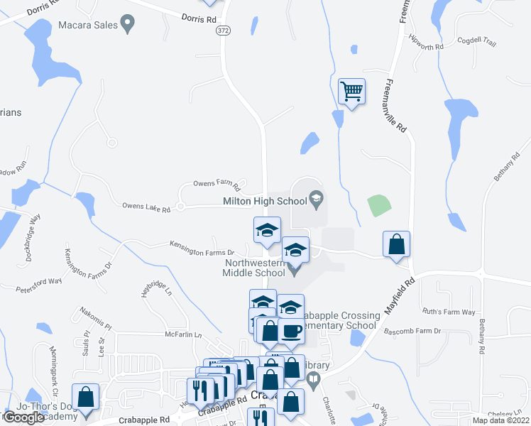 map of restaurants, bars, coffee shops, grocery stores, and more near 13105 Birmingham Highway in Alpharetta