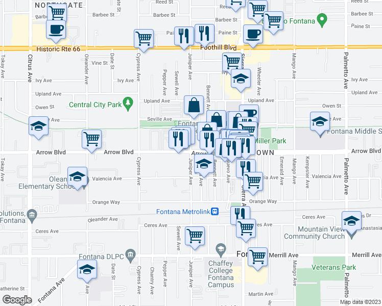 Arrow Boulevard & Juniper Avenue, Fontana CA - Walk Score on new kaiser hospital downey ca, kaiser hospital san rafael ca, map of kaiser in south ca, kaiser permenete harbor city ca,