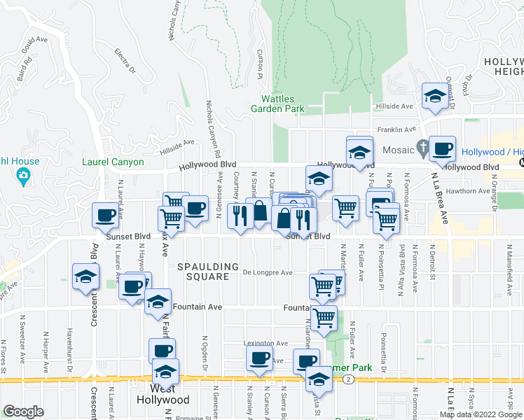 map of restaurants, bars, coffee shops, grocery stores, and more near 1542 North Stanley Avenue in Los Angeles