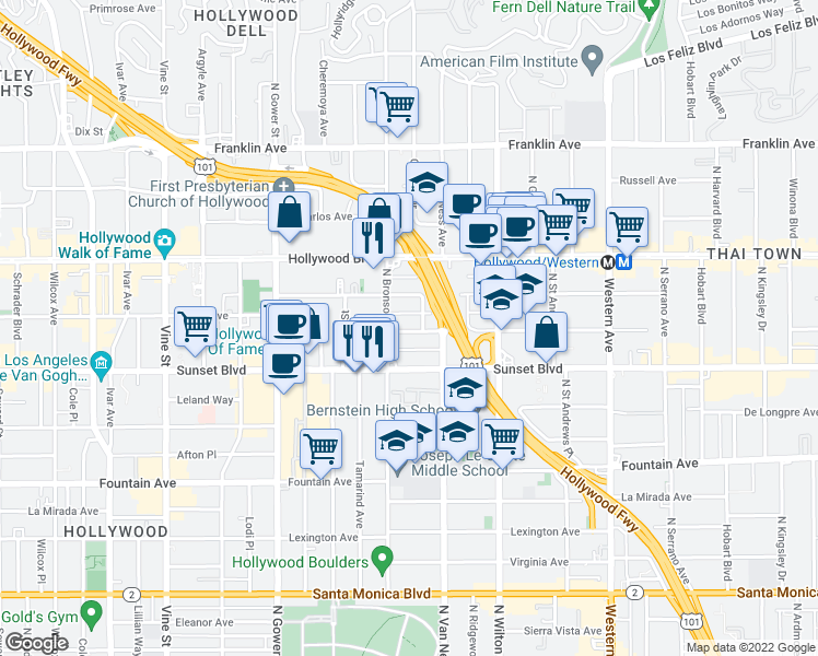 map of restaurants, bars, coffee shops, grocery stores, and more near 5849 Harold Way in Los Angeles