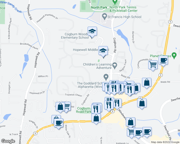 map of restaurants, bars, coffee shops, grocery stores, and more near 2673-2677 Hopewell Plantation Dr in Milton