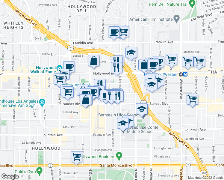 map of restaurants, bars, coffee shops, grocery stores, and more near 1558 Gordon Street in Los Angeles