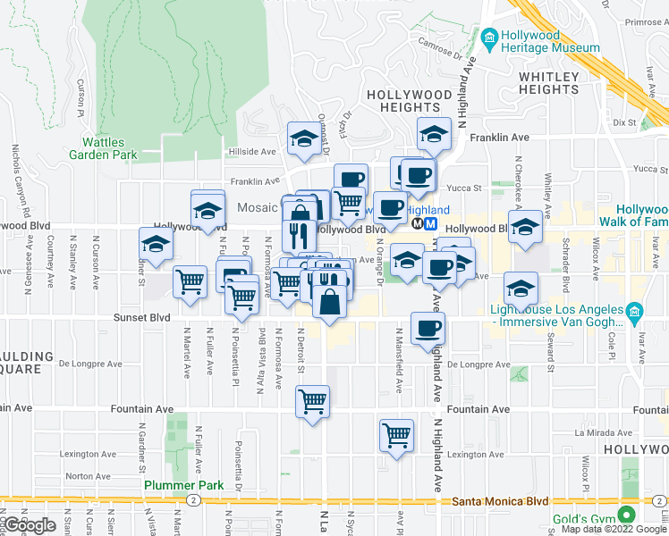 map of restaurants, bars, coffee shops, grocery stores, and more near 7062 Hawthorn Avenue in Los Angeles