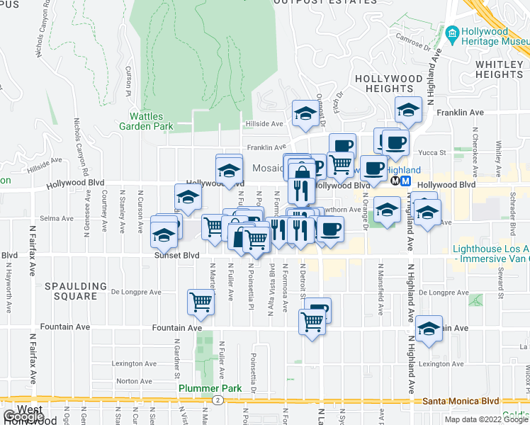 map of restaurants, bars, coffee shops, grocery stores, and more near 1616 North Poinsettia Place in Los Angeles