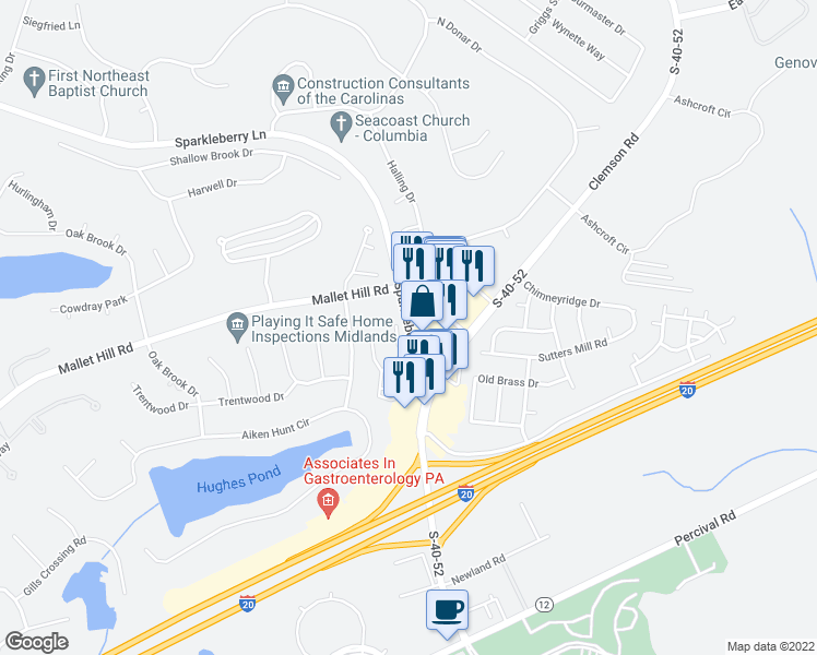 map of restaurants, bars, coffee shops, grocery stores, and more near 810 Sparkleberry Lane in Columbia