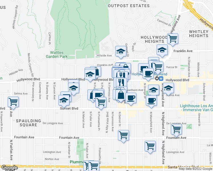 map of restaurants, bars, coffee shops, grocery stores, and more near 1635 North Formosa Avenue in Los Angeles