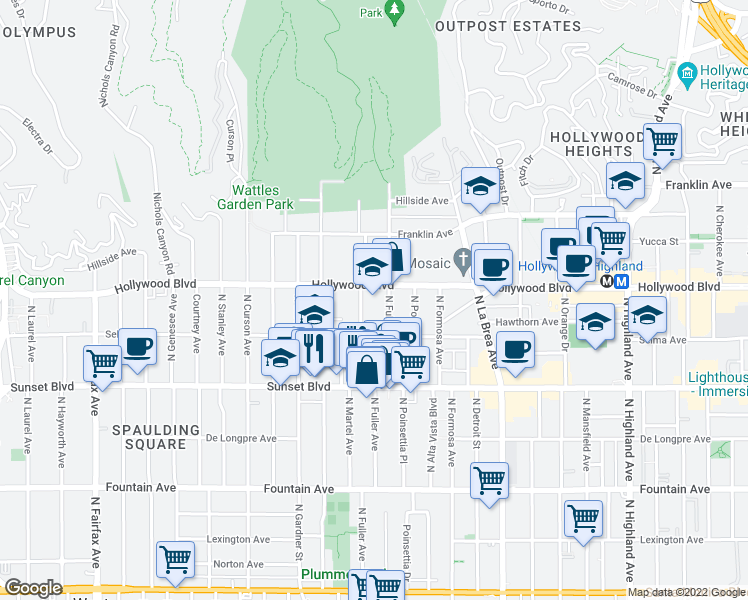 map of restaurants, bars, coffee shops, grocery stores, and more near 1610-1698 North Martel Avenue in Los Angeles