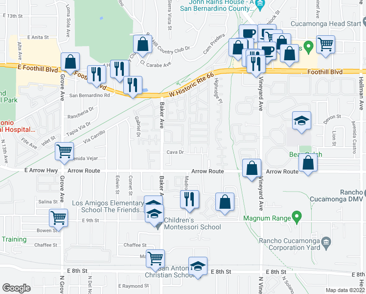 map of restaurants, bars, coffee shops, grocery stores, and more near 8628 Cava Drive in Rancho Cucamonga
