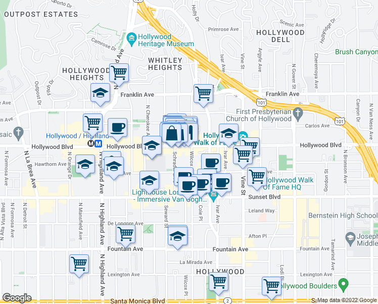 map of restaurants, bars, coffee shops, grocery stores, and more near 1645 Wilcox Avenue in Los Angeles
