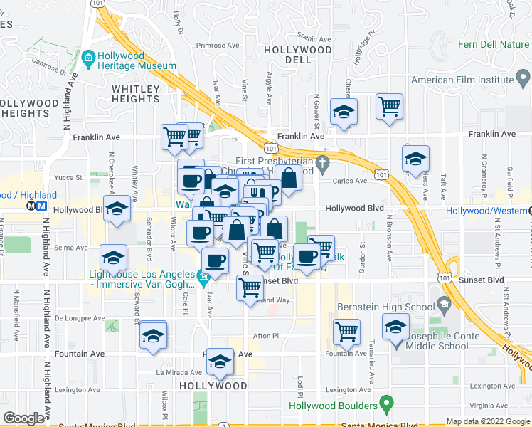 map of restaurants, bars, coffee shops, grocery stores, and more near 6250 Hollywood Boulevard in Los Angeles
