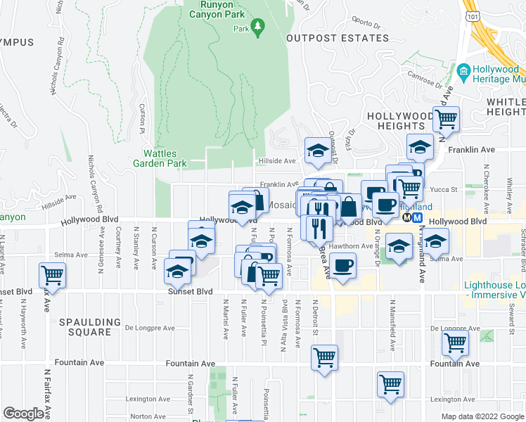 map of restaurants, bars, coffee shops, grocery stores, and more near 1720 North Fuller Avenue in Los Angeles