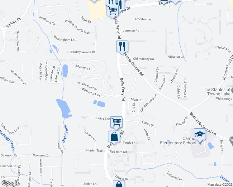 map of restaurants, bars, coffee shops, grocery stores, and more near Tate Lane in Acworth