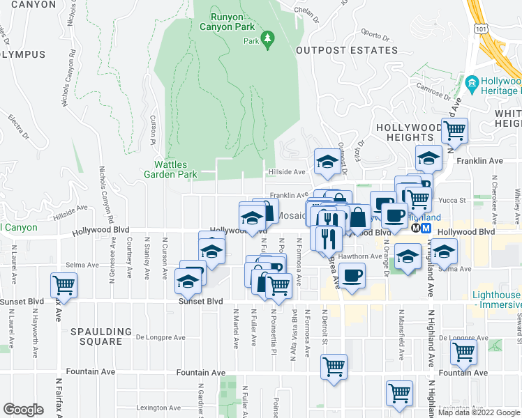 map of restaurants, bars, coffee shops, grocery stores, and more near 1735 North Fuller Avenue in Los Angeles