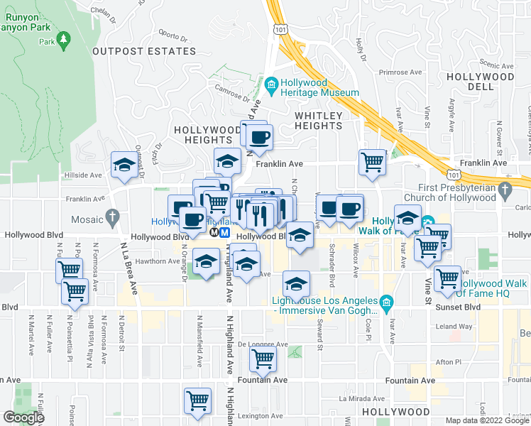 map of restaurants, bars, coffee shops, grocery stores, and more near 1737 North Las Palmas Avenue in Los Angeles